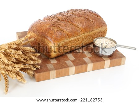 Baked Bread with Seeded Crust on isolated background - stock photo
