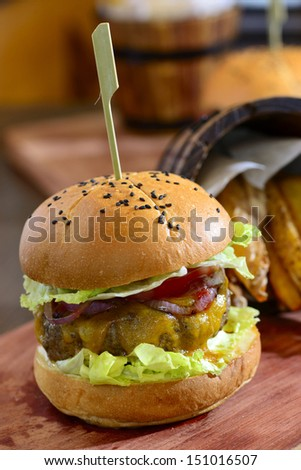 Gourmet cheeseburger - stock photo
