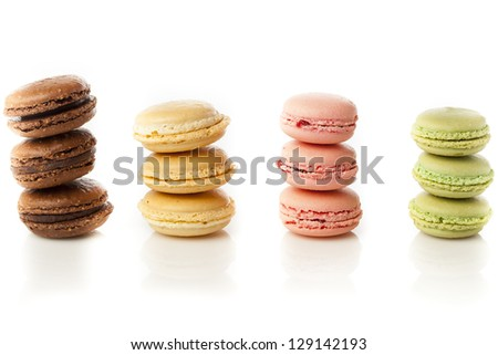 Gourmet Colored Macaroon Cookies with a cream filling - stock photo