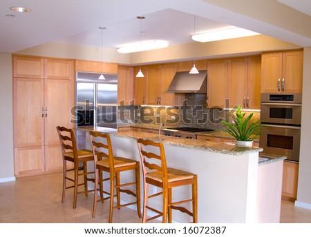 Gourmet Designer Kitchen with Island - stock photo