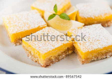 Gourmet Homemade Lemon Bars - stock photo