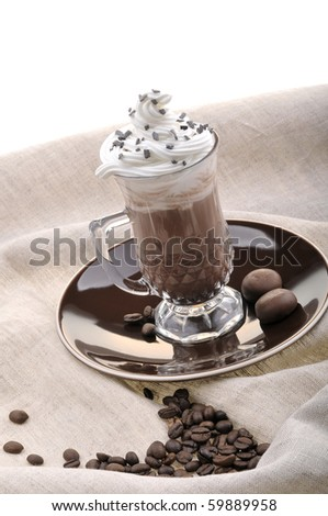 Gourmet hot coffee with whip cream isolated on white. - stock photo