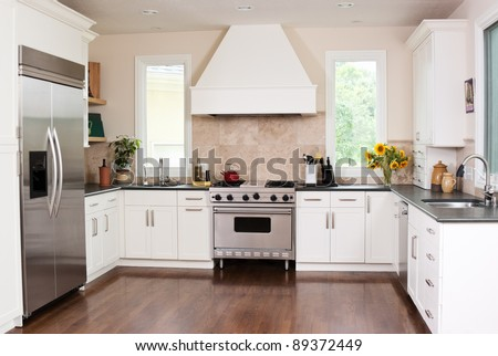Gourmet kitchen in a home - stock photo