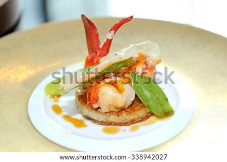 Gourmet lobster dinner - stock photo