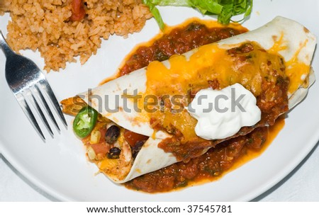 Gourmet Mexican taco, burrito or enchilada, with black beans, chicken, lettuce, tomatoes, cheddar cheese, salsa, sour cream, and jalapeno peppers, accompanied by salad, spanish rice and beer - stock photo