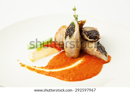 Gourmet Pork Meat Rolls. Gourmet Restaurant Food - stock photo