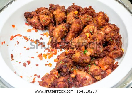 gourmet Roasted chicken Buffalo wings - stock photo
