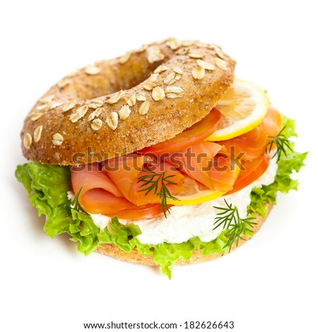 Gourmet Salmon Sandwich. Selective focus. - stock photo