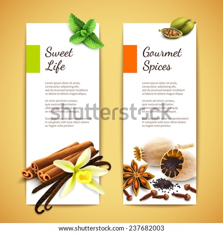 Gourmet spices sweet life vertical banners set isolated  illustration - stock photo