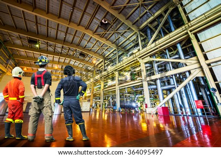 Govern engineer of the powerhouse pipe system - stock photo