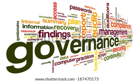 Governance and compliance in word tag cloud on white - stock photo