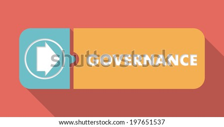 Governance Button in Flat Design with Long Shadows on Scarlet Background. - stock photo