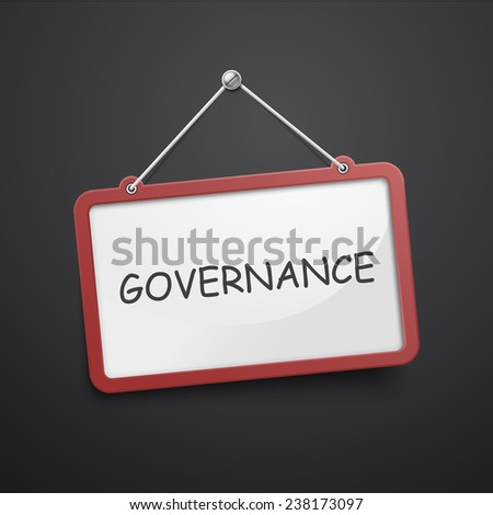 governance hanging sign isolated on black wall  - stock photo