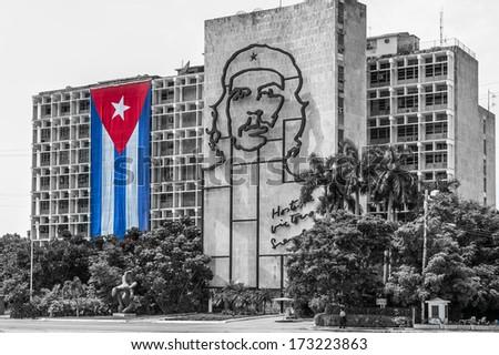 government building in havana beside revolution square. - stock photo