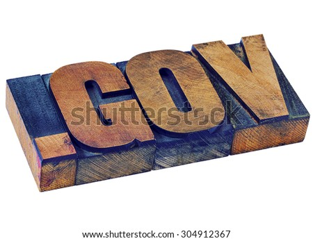 government - dot gov internet domain  - network address  for government- isolated text in vintage letterpress wood type stained by color inks - stock photo