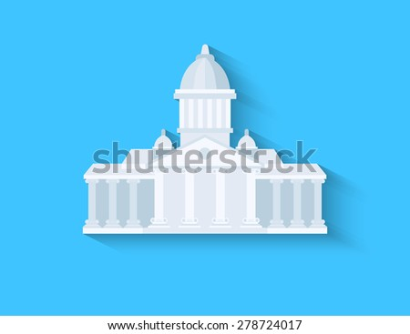Government flat design with long shadow on blue background - stock photo