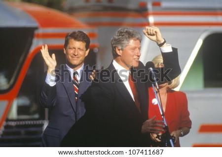Governor Bill Clinton and Senator Al Gore on the 1992 Buscapade campaign kick off tour in Cleveland, Ohio - stock photo