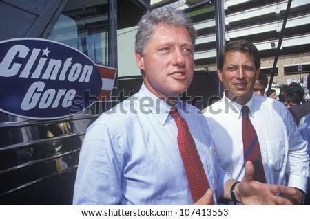 Governor Bill Clinton and Senator Al Gore on the 1992 Buscapade campaign tour in San Antonio, Texas - stock photo