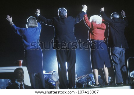 Governor Bill Clinton, Hillary Clinton, Governor Ann Richards and Senator Lloyd Bentsen at a Texas campaign rally in 1992 on his final day of campaigning, McAllen, Texas - stock photo