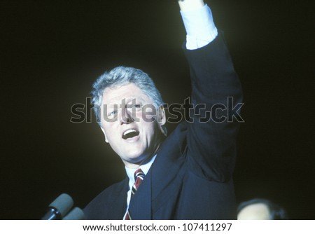 Governor Bill Clinton speaks at a Kentucky campaign rally in 1992 on his final day of campaigning in Paducah, Kentucky - stock photo