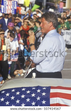 Governor Bill Clinton speaks at the County Court House during the Clinton/Gore 1992 Buscapade campaign tour in Athens, Texas - stock photo