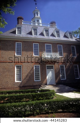 Governor's Palace and garden in  Colonial Williamsburg  Virginia - stock photo