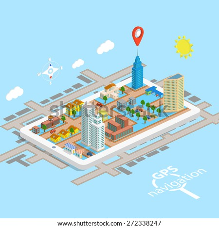 GPS Mobile Navigation Isometric Map - stock photo