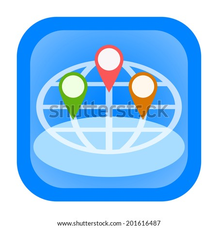 Gps navigation and location tracking icon with Earth globe and map pin pointers - stock photo