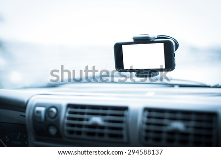 Gps on mobile phone - blank screen - stock photo
