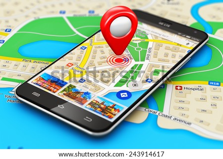 GPS satellite navigation, travel, tourism and location route planning business concept: smartphone or mobile phone with navigator map internet application on screen and pointer marker on city map - stock photo