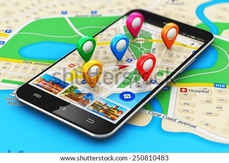 GPS satellite navigation, travel, tourism and location route planning concept: smartphone with navigator map internet application and group of colorful destination pointer marker icons on city map - stock photo