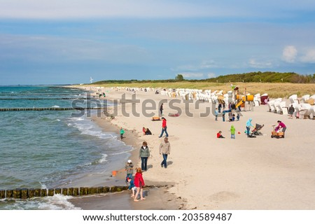 Graal-Mueritz, Germany - June 14, 2012: Beach in Graal-Mueritz, a sea spa town at the coast of Mecklenburg. It is a famous tourist destination in germany. - stock photo