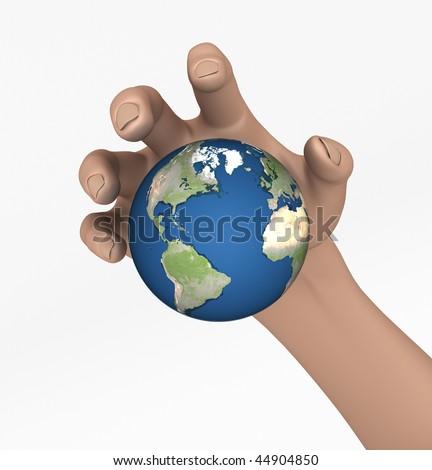 Grabbing the Earth - stock photo
