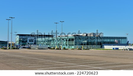 GRACE-HOLLOGNE, BELGIUM-OCTOBER 19, 2014: Airport of Liege or Liege-Bierset. This airport used more than 315000 passengers in 2013 - stock photo