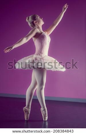 Graceful ballerina dancing en pointe in the ballet studio - stock photo