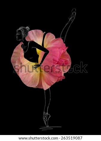 Graceful Ballet Dancer in Pink Flower Tutu Skirt on Black Background - stock photo