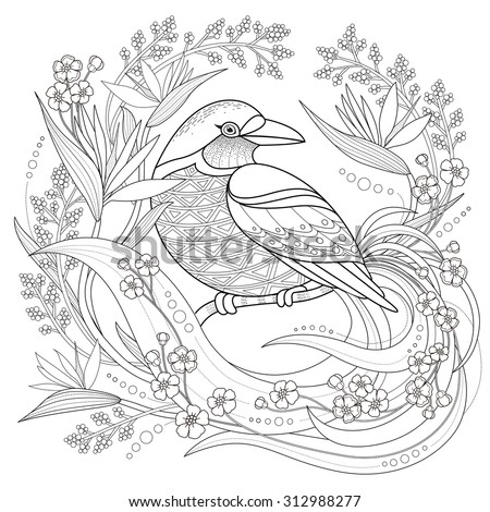 graceful bird coloring page in exquisite style - stock photo