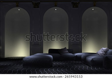 Graceful illuminated arched wall alcove accents in a luxury living room interior with comfortable modern modular lounge suite. 3d Rendering - stock photo