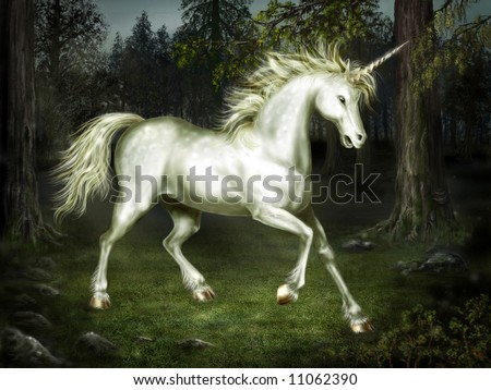 Graceful unicorn in the forest - stock photo
