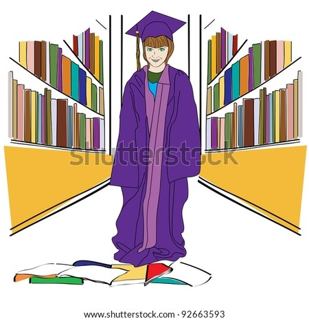Grade School Student dressed up for graduation in the library - stock photo