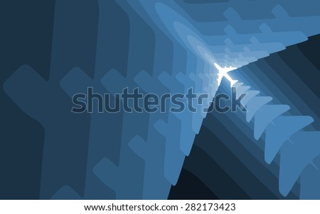 Graded airplane silhouettes background. Wallpaper version. - stock photo