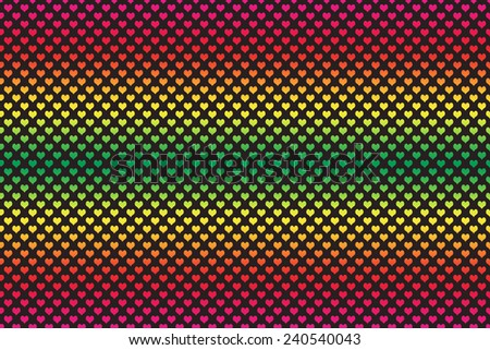 Gradient Colored Heart Shape with black background  - stock photo