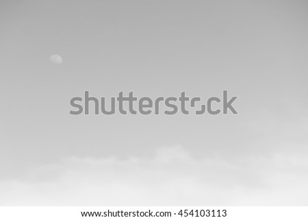 Gradient of gray color, soft color gradient of fluffy cloud and half moon on a day light sky background, use for business presentation background or desktop wallpaper - stock photo