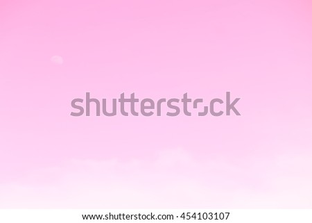 Gradient of pink color, soft color gradient of fluffy cloud and half moon on a day light sky background, use for business presentation background or desktop wallpaper - stock photo