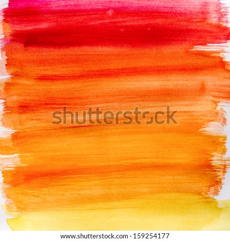 Gradient watercolor texture which resembles to fire or sunset. Gradation from orange to yellow. Very useful for backgrounds. - stock photo