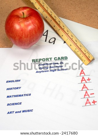 Grading Papers for School - Report Card - stock photo