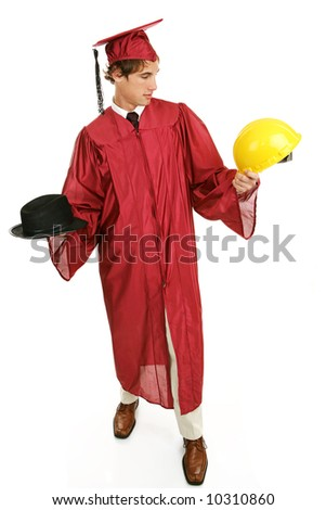 Graduate choosing between a business career or building trade.  Full body isolated on white. - stock photo