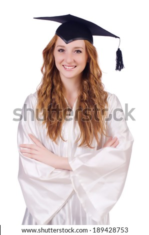 Graduate girl isolated on white - stock photo