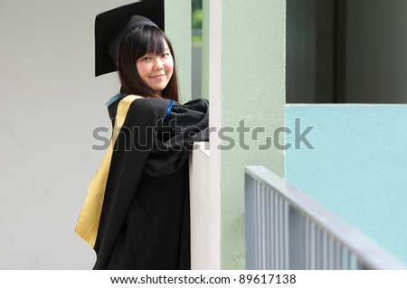 graduate girl student - stock photo