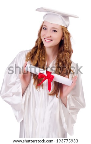 Graduate girl with diploma  isolated on white - stock photo